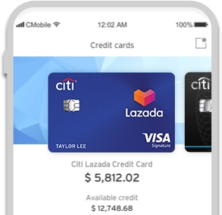 Image showing Citi Lazada Credit Card balance on Citi Mobile® App