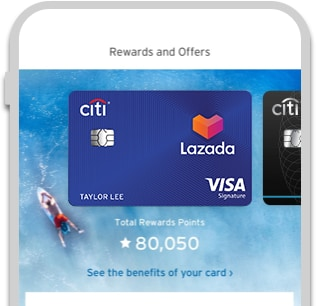 Image showing Citi Rewards points earned with Citi Lazada Credit Card on Citi Mobile® App
