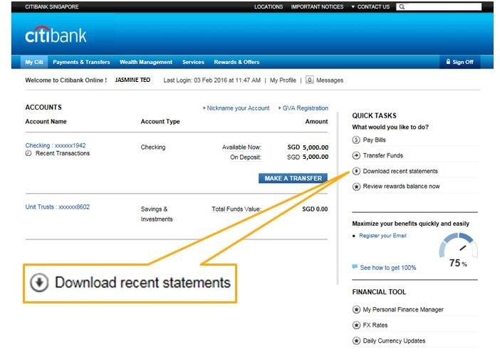 Electronic Statements Electronic Advices Citibank Singapore