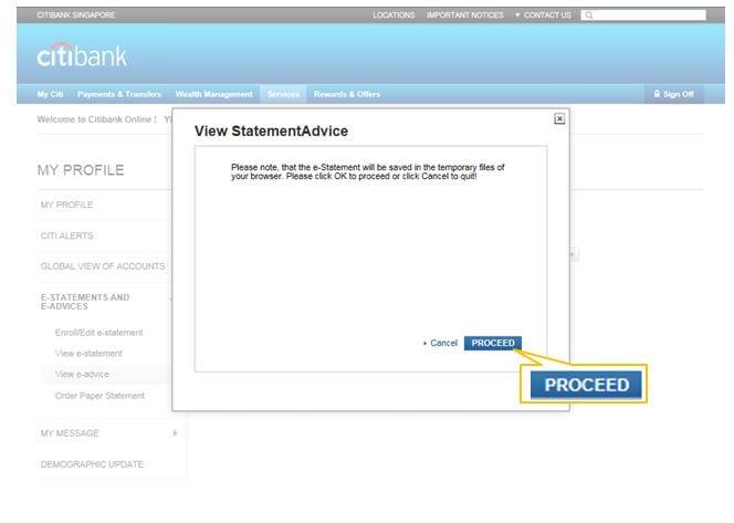 Electronic Statements   Electronic Advices - Citibank Singapore